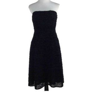 J. Crew Strapless All Over Ruffle Dress Navy Blue